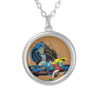 Batman And Robin In Batcave Silver Plated Necklace