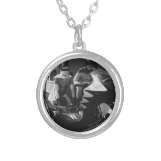 Batman and Robin in Batcycle Silver Plated Necklace