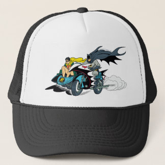 Batman And Robin In Batcycle Trucker Hat