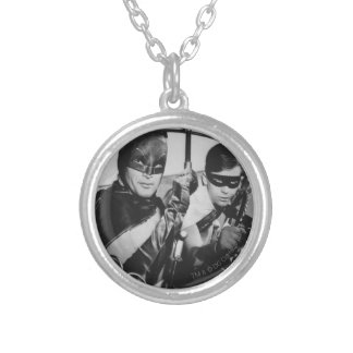 Batman and Robin In Batmobile Silver Plated Necklace