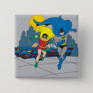 Batman And Robin Running 15 Cm Square Badge