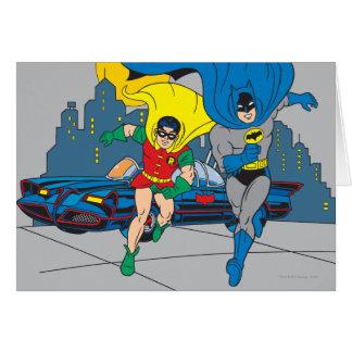 Batman And Robin Running Greeting Card