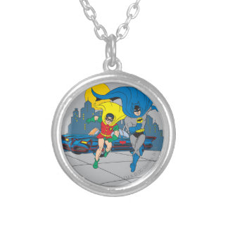 Batman And Robin Running Silver Plated Necklace