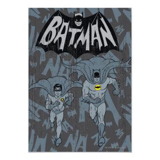 Batman And Robin With Logo Distressed Graphic 13 Cm X 18 Cm Invitation Card
