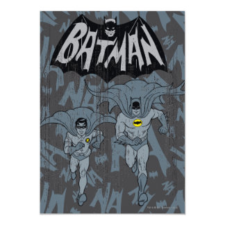 Batman And Robin With Logo Distressed Graphic 5x7 Paper Invitation Card