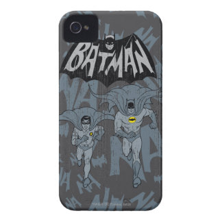 Batman And Robin With Logo Distressed Graphic iPhone 4 Cases