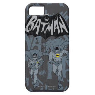 Batman And Robin With Logo Distressed Graphic iPhone 5 Case