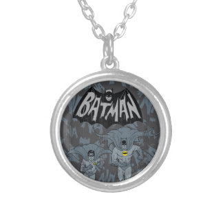Batman And Robin With Logo Distressed Graphic Silver Plated Necklace