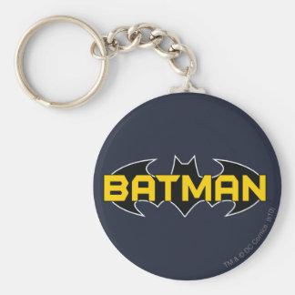 Batman Black and Yellow Logo Basic Round Button Key Ring