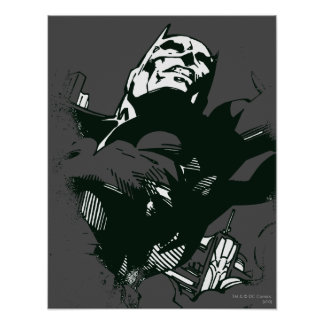 Batman Black & White Graffiti Stencil Poster