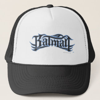 Batman   Blue Black Letters Logo Trucker Hat