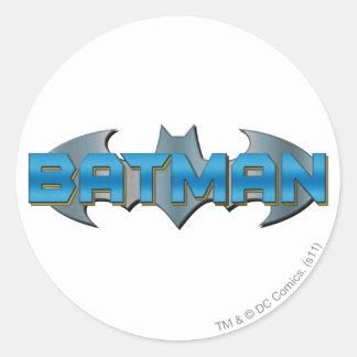 Batman | Blue Name Logo Classic Round Sticker
