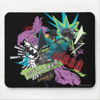 Batman Caped Crusader Neon Collage Mouse Pad