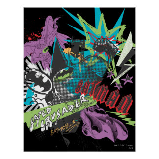 Batman Caped Crusader Neon Collage Poster