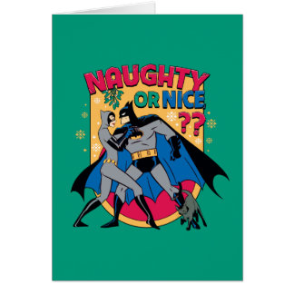 Batman   Catwoman Under Mistletoe Naughty Or Nice Card
