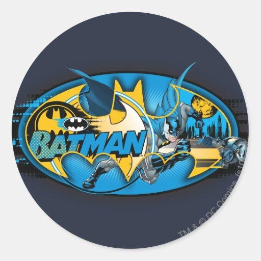 Batman Classic Logo Collage Round Stickers