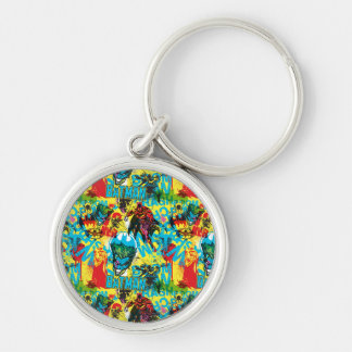 Batman Color Code Pattern 1 Silver-Colored Round Key Ring