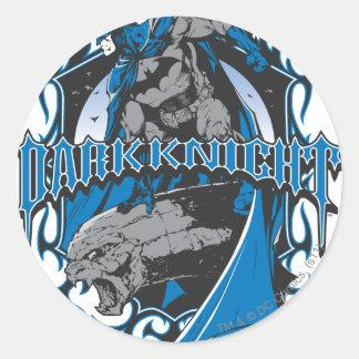 Batman Dark Knight   Blue Grey Logo Round Sticker