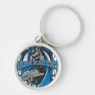 Batman Dark Knight | Blue Grey Logo Silver-Colored Round Key Ring
