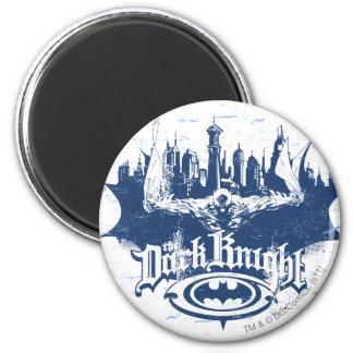 Batman Dark Knight | Cityscape Blue Logo 6 Cm Round Magnet