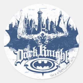 Batman Dark Knight   Cityscape Blue Logo Round Sticker