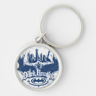 Batman Dark Knight | Cityscape Blue Logo Silver-Colored Round Key Ring