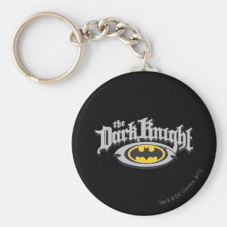 Batman Dark Knight | Name and Oval Logo Basic Round Button Key Ring
