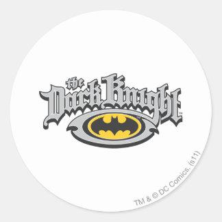 Batman Dark Knight | Name and Oval Logo Round Sticker