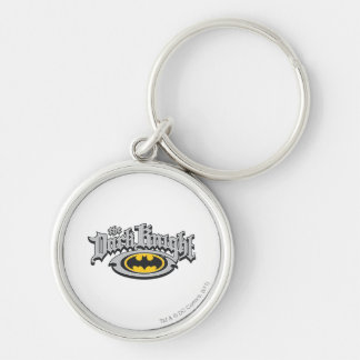 Batman Dark Knight | Name and Oval Logo Silver-Colored Round Key Ring