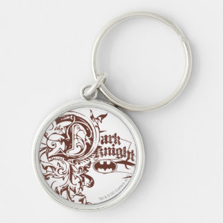 Batman Dark Knight | Urban Brown Logo Silver-Colored Round Key Ring