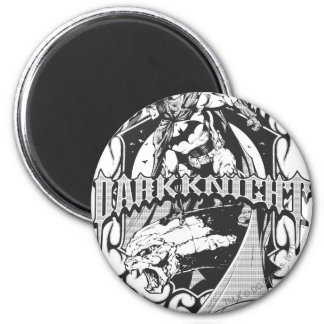 Batman Dark Knight | White Grey Outline Logo 6 Cm Round Magnet