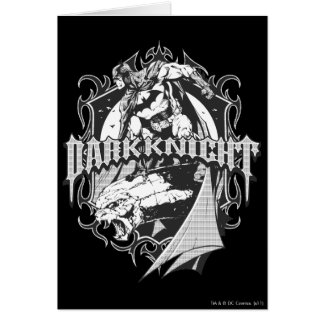 Batman Dark Knight | White Grey Outline Logo Greeting Card