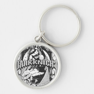 Batman Dark Knight | White Grey Outline Logo Silver-Colored Round Key Ring