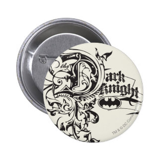 Batman Dark Night   Ornate Logo 6 Cm Round Badge