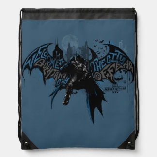 Batman Gotham City Paint Drip Graphic Drawstring Bag