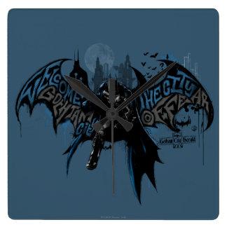 Batman Gotham City Paint Drip Graphic Square Wall Clock