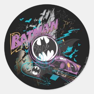 Batman Gotham Skyline Sketch Round Sticker