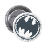 Batman Grey Grunge Logo Pinback Button