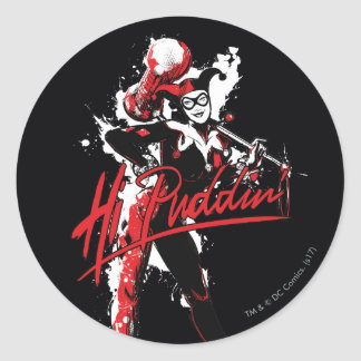 "Batman | Harley Quinn ""Hi Puddin'"" Ink Art Classic Round Sticker"