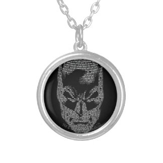 Batman Head Mantra Silver Plated Necklace