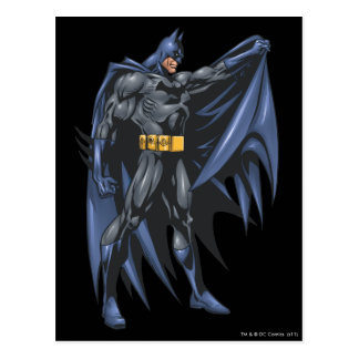 Batman holds cape - side postcard