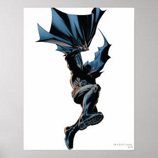 Batman Jumping Down Action Shot Poster