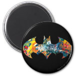 Batman Logo Neon/80s Graffiti 6 Cm Round Magnet