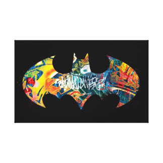 Batman Logo Neon/80s Graffiti Canvas Print
