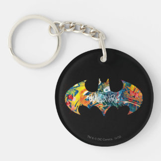 Batman Logo Neon/80s Graffiti Double-Sided Round Acrylic Key Ring