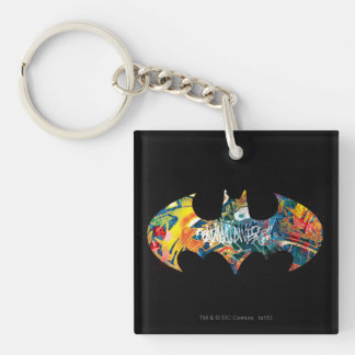 Batman Logo Neon/80s Graffiti Double-Sided Square Acrylic Key Ring