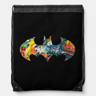 Batman Logo Neon/80s Graffiti Drawstring Bag