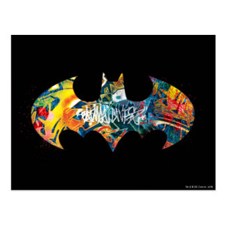 Batman Logo Neon/80s Graffiti Postcard
