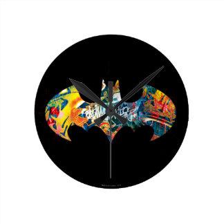 Batman Logo Neon/80s Graffiti Round Clock