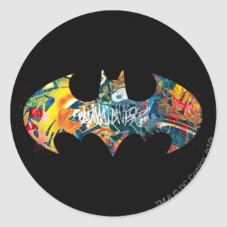Batman Logo Neon/80s Graffiti Round Sticker